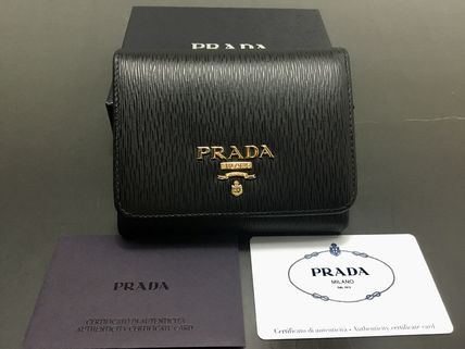 PRADA Unisex Leather Folding Wallet Logo Folding Wallets