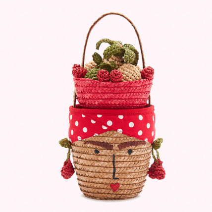 Dots Blended Fabrics Street Style Straw Bags