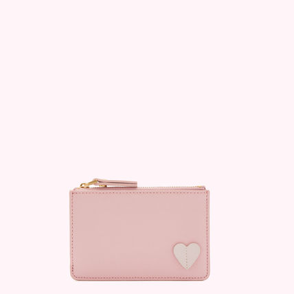 Heart Street Style Plain Leather Pouches & Cosmetic Bags