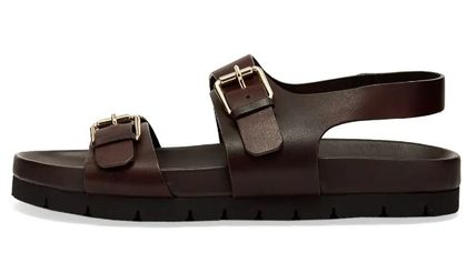Unisex Plain Leather Sandals