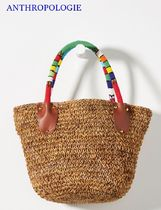 Anthropologie Blended Fabrics Plain With Jewels Straw Bags