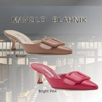Manolo Blahnik Casual Style Sheepskin Fur Leather Elegant Style Mules