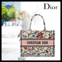 Christian Dior BOOK TOTE Flower Patterns Casual Style Canvas 2WAY Elegant Style Logo
