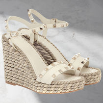 VALENTINO Open Toe Platform Round Toe Rubber Sole Casual Style Studded