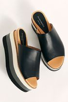 Free People Open Toe Platform Casual Style Plain Leather