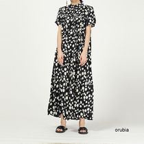 Dots Casual Style Maxi A-line Chiffon Dolman Sleeves Flared