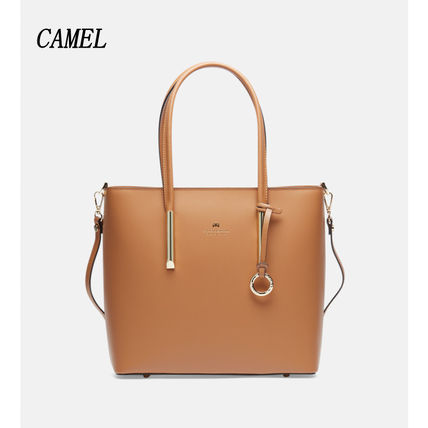 Casual Style A4 2WAY Plain Leather Office Style
