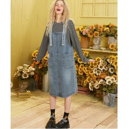ELF SACK Casual Style Denim Medium Elegant Style Midi Skirts