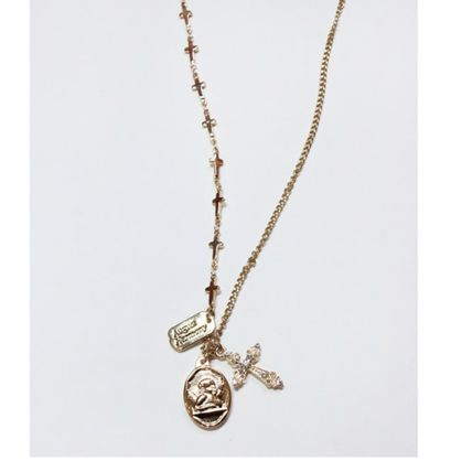 Casual Style Cross Coin Chain Brass Necklaces & Pendants