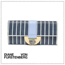 DIANE von FURSTENBERG Stripes Casual Style Leather Logo Clutches