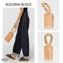 Building Block Casual Style Plain Leather Handbags