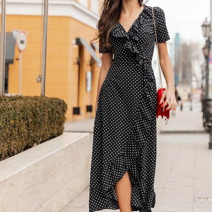 Wrap Dresses Dots Casual Style A-line Flared V-Neck Medium