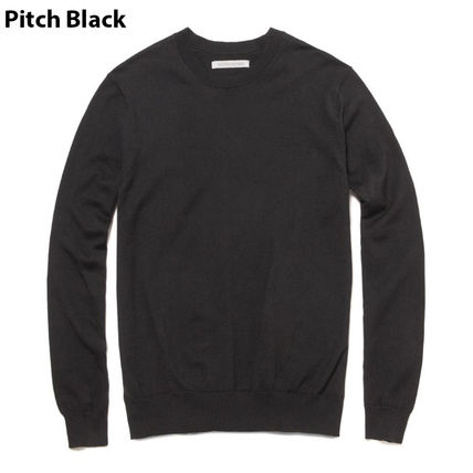 Crew Neck Long Sleeves Plain Cotton Surf Style Sweaters
