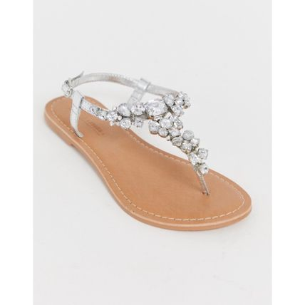 Casual Style Leather Flip Flops With Jewels Elegant Style