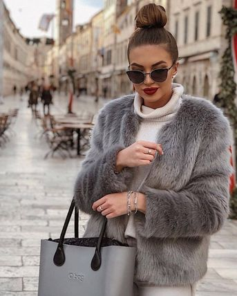Casual Style Faux Fur Blended Fabrics Street Style Plain