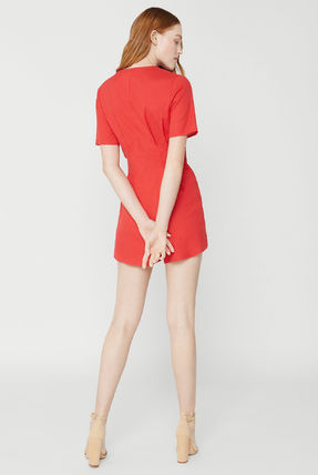 Short V-Neck Short Sleeves Dresses