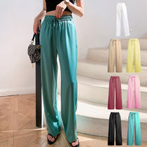 Casual Style Plain Long Elegant Style Icy Color Pants
