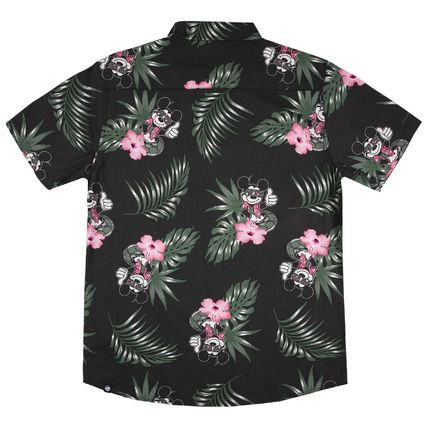 Button-down Tropical Patterns Plain Short Sleeves