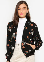 VERO MODA Short Flower Patterns Street Style Varsity Jackets