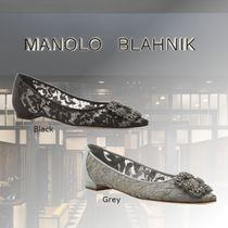 Manolo Blahnik Hangisi Casual Style Leather With Jewels Elegant Style Bridal Sheer