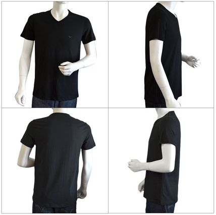 EMPORIO ARMANI Unisex Street Style V-Neck Plain Cotton Short Sleeves Logo