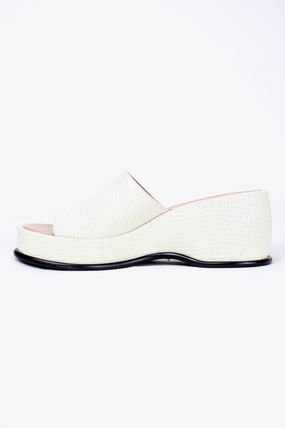 Platform Round Toe Plain Leather Mules