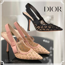 Christian Dior Flower Patterns Blended Fabrics Plain Pin Heels Handmade