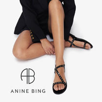 ANINE BING Open Toe Plain Toe Casual Style Blended Fabrics Studded