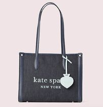 kate spade new york Casual Style Canvas Denim A4 Plain Totes