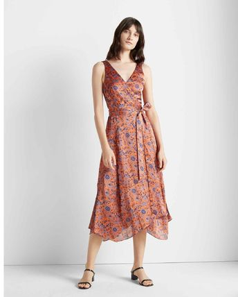 Wrap Dresses Flower Patterns Silk Cropped Medium Party Style
