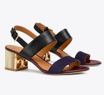 Tory Burch Open Toe Casual Style Street Style Bi-color Plain Leather