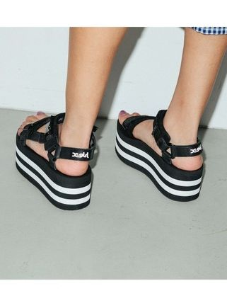 Stripes Open Toe Platform Casual Style Street Style