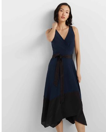 Casual Style Maxi A-line Sleeveless V-Neck Bi-color Plain