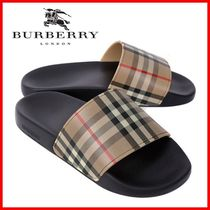 Burberry Other Plaid Patterns Unisex Street Style Shower Shoes Logo