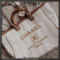 CHANEL DEAUVILLE Stripes Unisex Calfskin Canvas Blended Fabrics A4 2WAY Chain