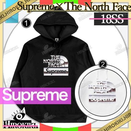 Supreme Street Style Collaboration Logo Hoodies