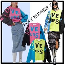 HOLY NUMBER 7 Casual Style Street Style V-neck & Crew neck
