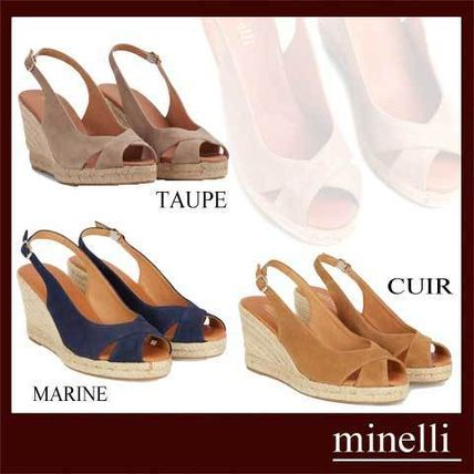 Square Toe Rubber Sole Suede Plain Leather Heeled Sandals