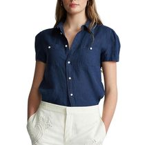 POLO RALPH LAUREN Plain Short Sleeves Puff Sleeves Shirts & Blouses