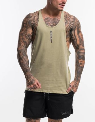Street Style Cotton Logo Military Tanks