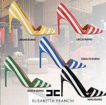 ELISABETTA FRANCHI Stripes Casual Style Bi-color Leather Pin Heels Office Style