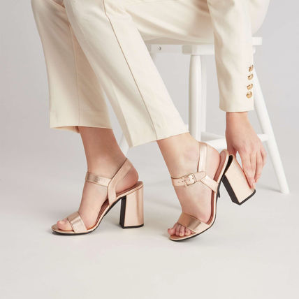 Open Toe Platform Pin Heels Mules Metallic Strap Sandals