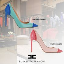 ELISABETTA FRANCHI Casual Style Bi-color Leather Pin Heels Elegant Style Logo