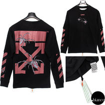 Off-White Crew Neck Unisex Street Style Long Sleeves Cotton