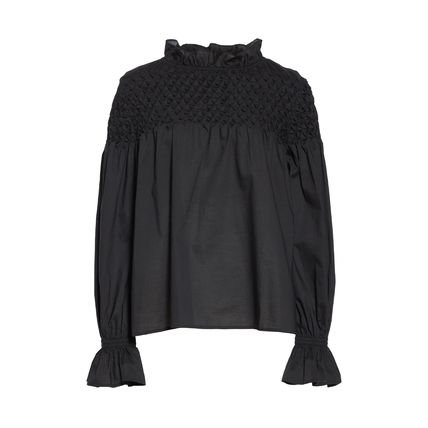 Casual Style Plain Cotton Elegant Style Puff Sleeves