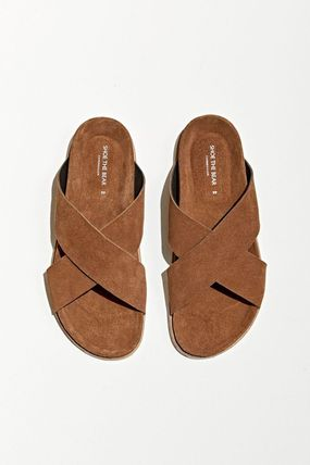 Logo Suede Plain Leather Street Style Sandals