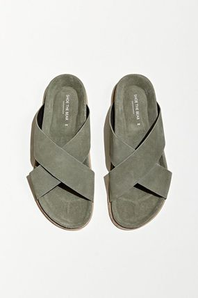 Suede Street Style Plain Leather Logo Sandals