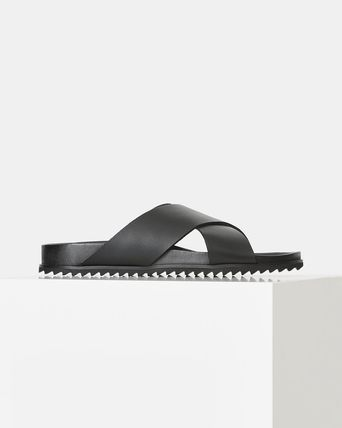 Logo Plain Leather Street Style Sandals
