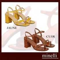minelli Open Toe Casual Style Other Animal Patterns Block Heels