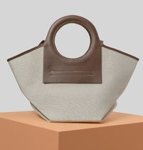 HEREU Casual Style Canvas 2WAY Plain Leather Office Style